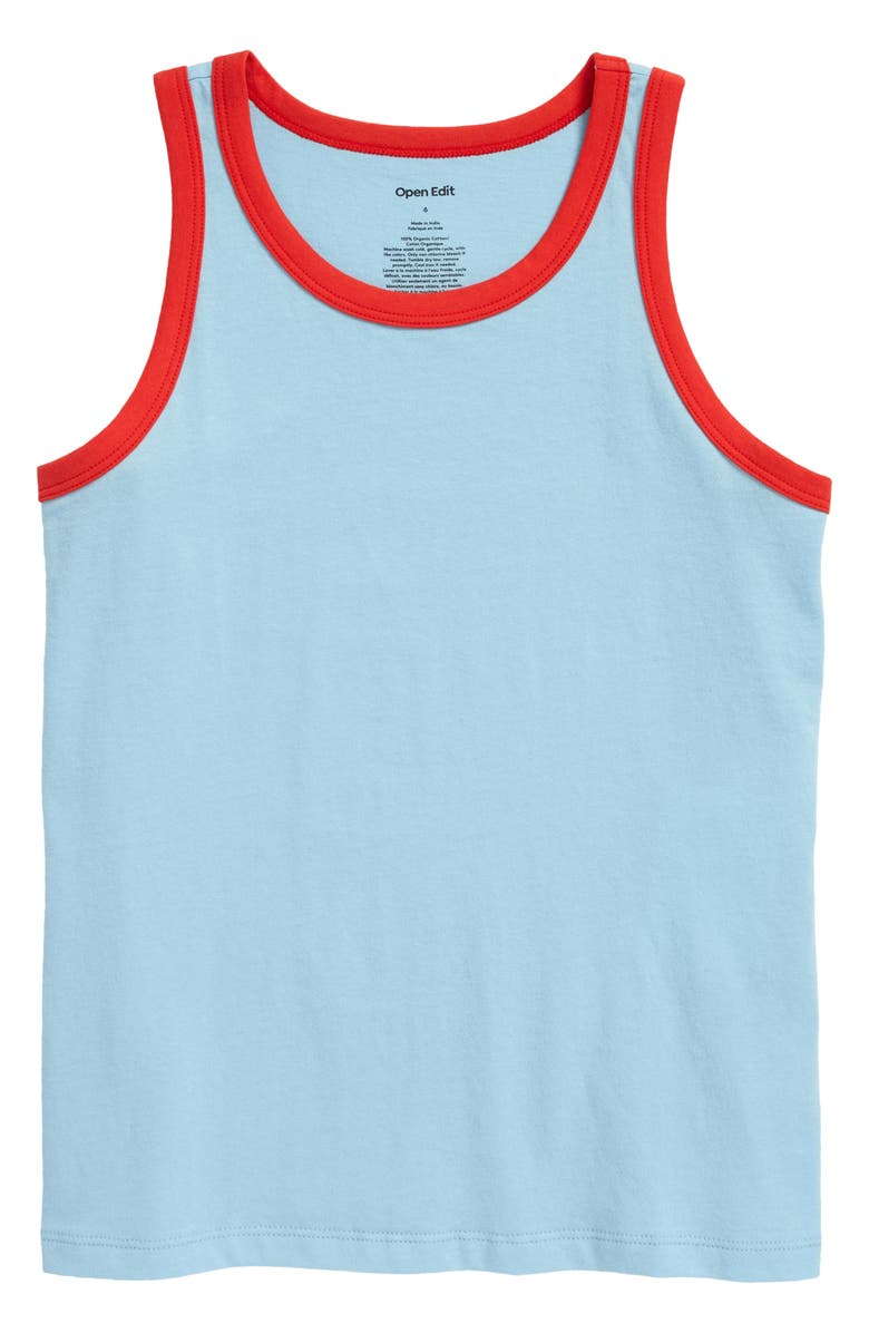 OPEN EDIT Organic Cotton Ringer Tank, Main, color, BLUE SKY- RED