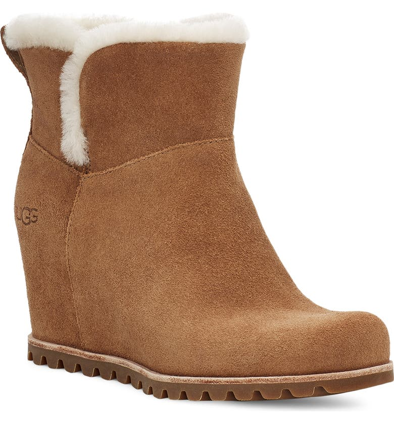 UGG<SUP>®</SUP> Seyline Waterproof Genuine Shearling Bootie, Main, color, CHESTNUT SUEDE