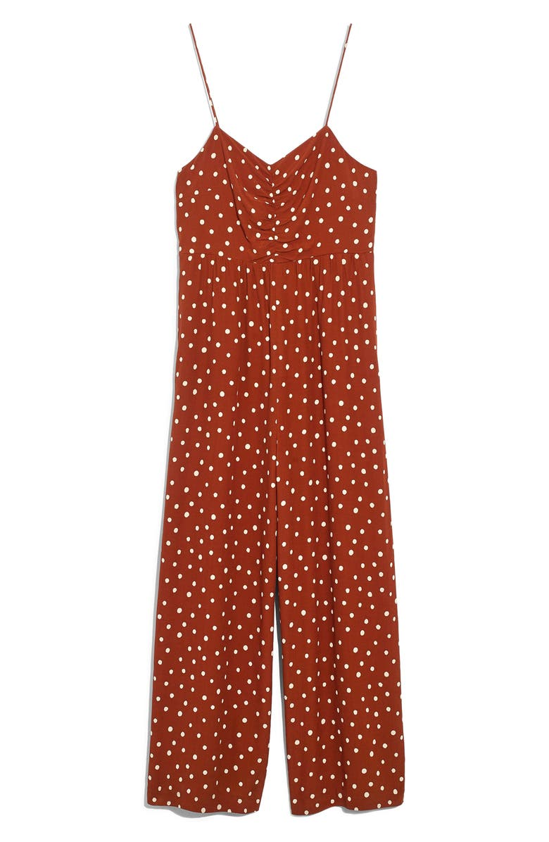 MADEWELL Ruched Wide Leg Jumpsuit, Main, color, PAINTED DOTS BURNT CLAY
