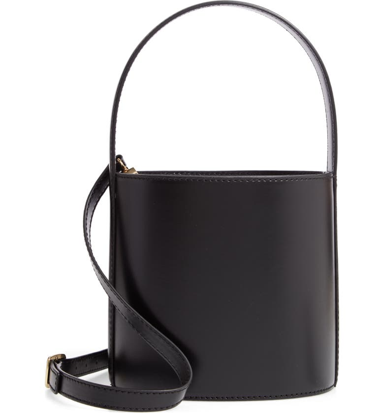 STAUD Bissett Leather Bucket Bag, Main, color, 001