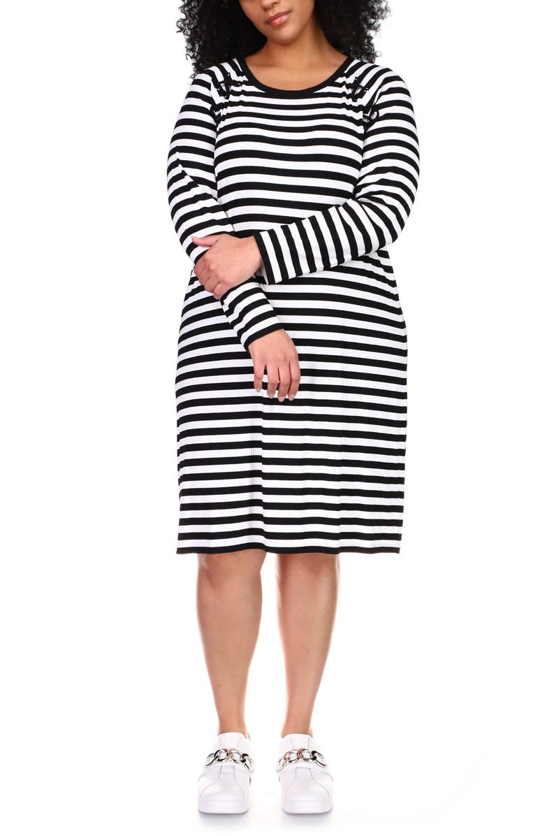 MICHAEL MICHAEL KORS Striped Dress, Main, color, BLACK/ WHITE