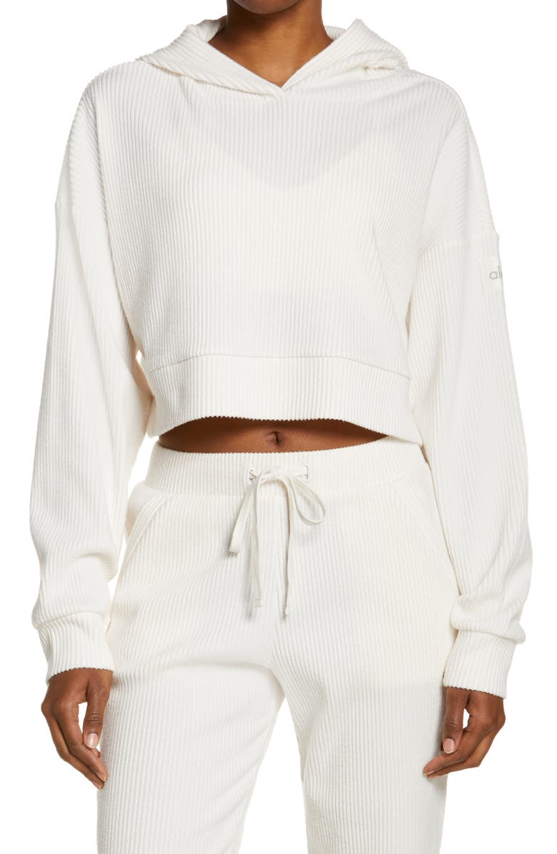 ALO Muse Ribbed Crop Hoodie, Main, color, IVORY