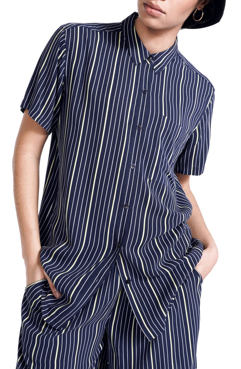 BP. + WILDFANG Relaxed Short Sleeve Button-Down Shirt, Main, color, NAVY PINSTRIPE