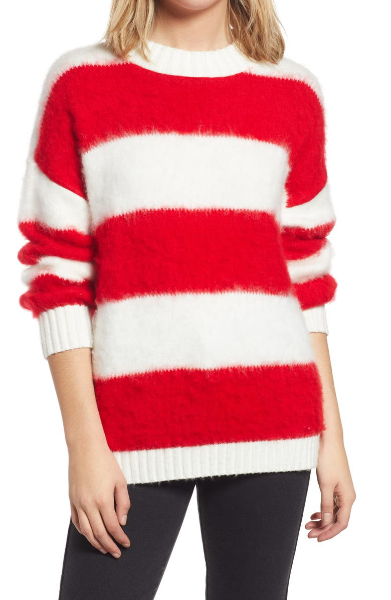 BP. Oversize Brushed Pullover, Main, color, IVORY- RED AVA STRIPE