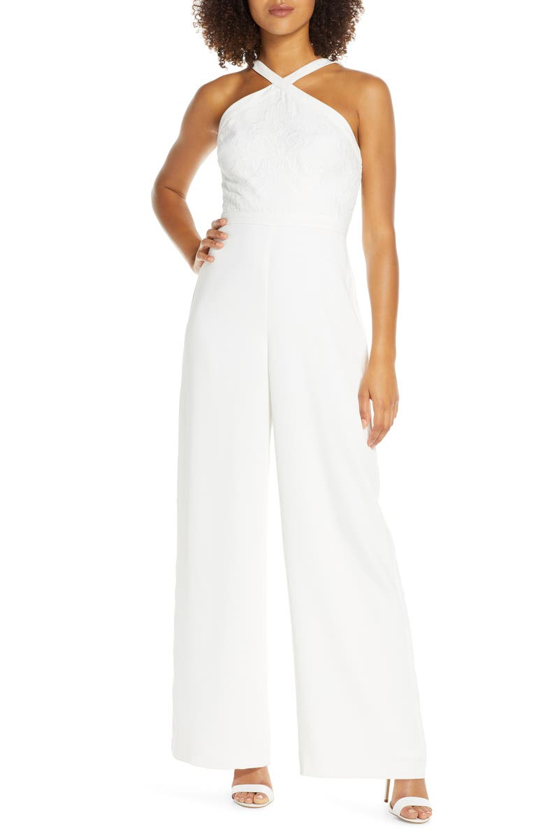 EVER NEW Ally Embroidered Halter Jumpsuit, Main, color, 900