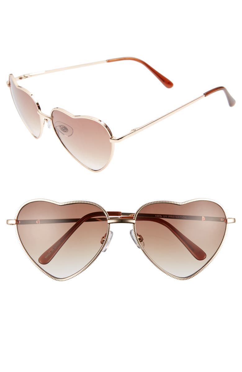 BP. Heart Shaped 58mm Sunglasses, Main, color, GOLD/ BROWN