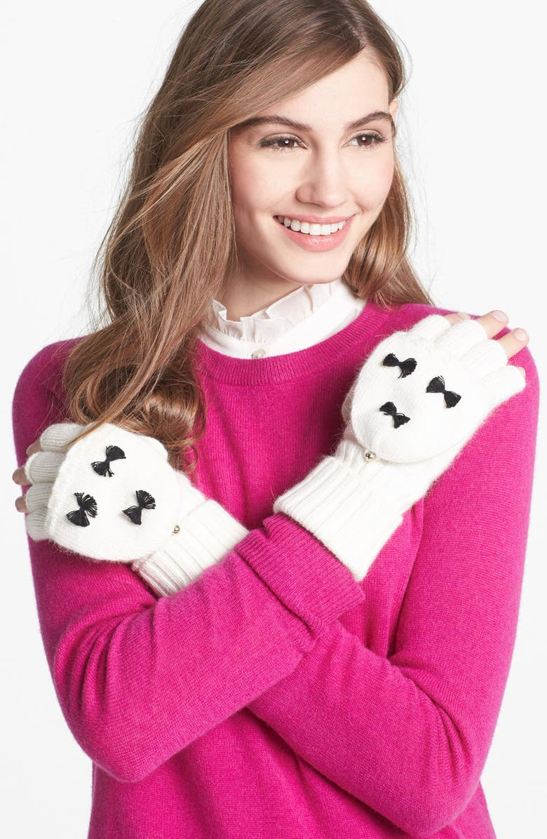 KATE SPADE NEW YORK 'bow' flip top mittens, Main, color, 001