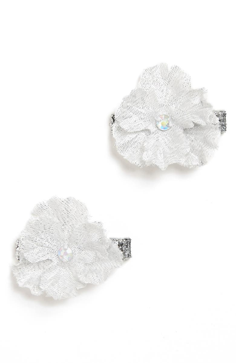 PLH BOWS Flower Hair Clips, Main, color, Silver
