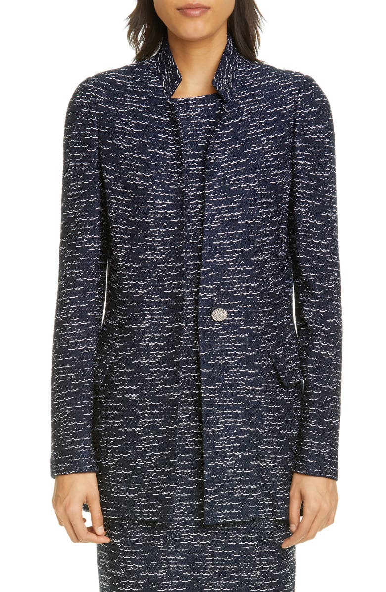 ST. JOHN COLLECTION Two-Tone Float Knit Inverted Lapel Jacket, Main, color, NAVY/ ECRU
