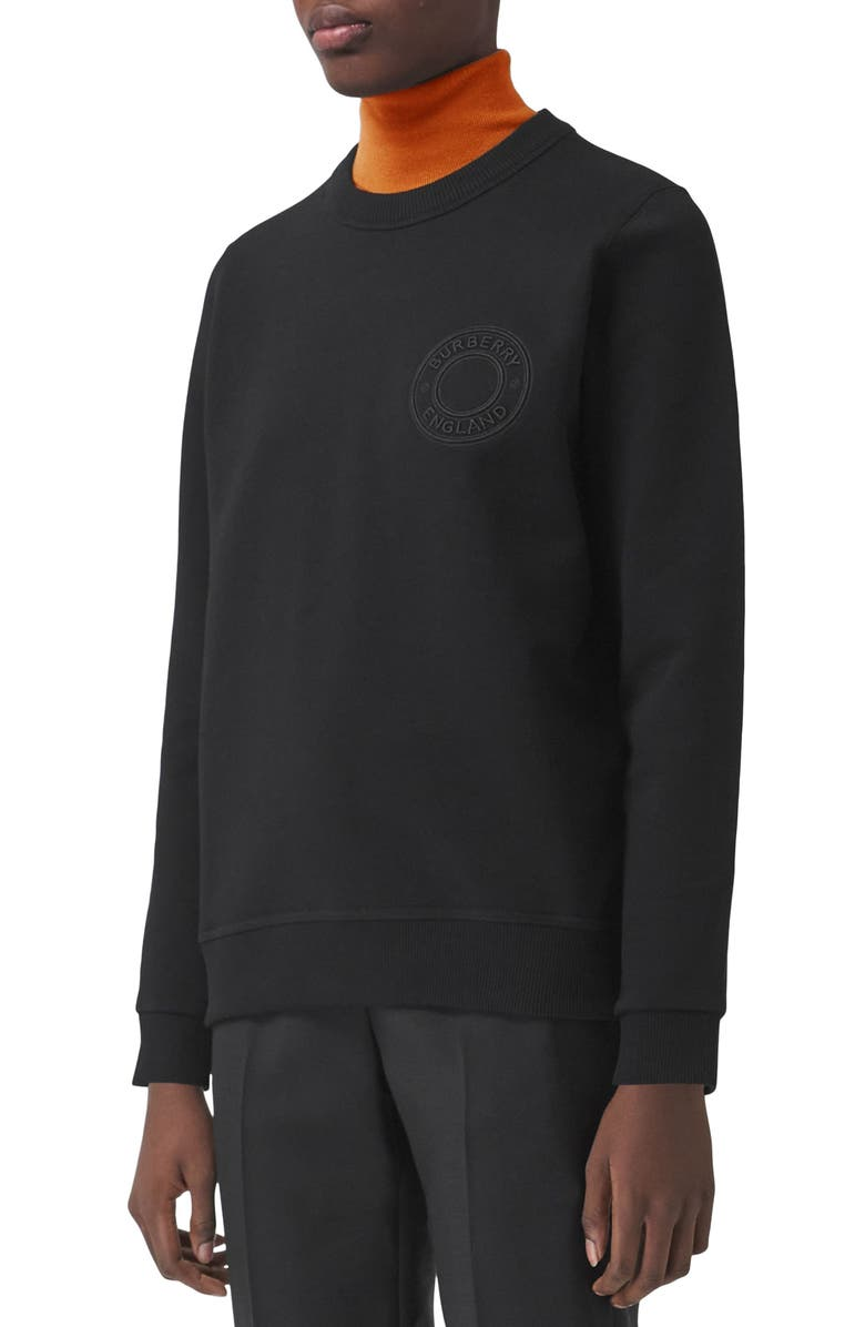 BURBERRY Poulter Roundel Logo Embroidered Sweatshirt, Main, color, BLACK