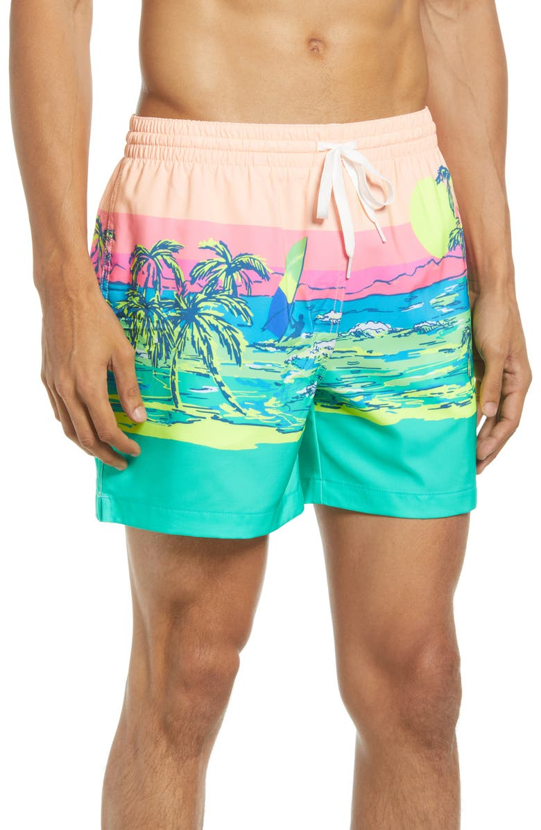 CHUBBIES The Coastals 5.5-Inch Swim Trunks, Main, color, TEAL