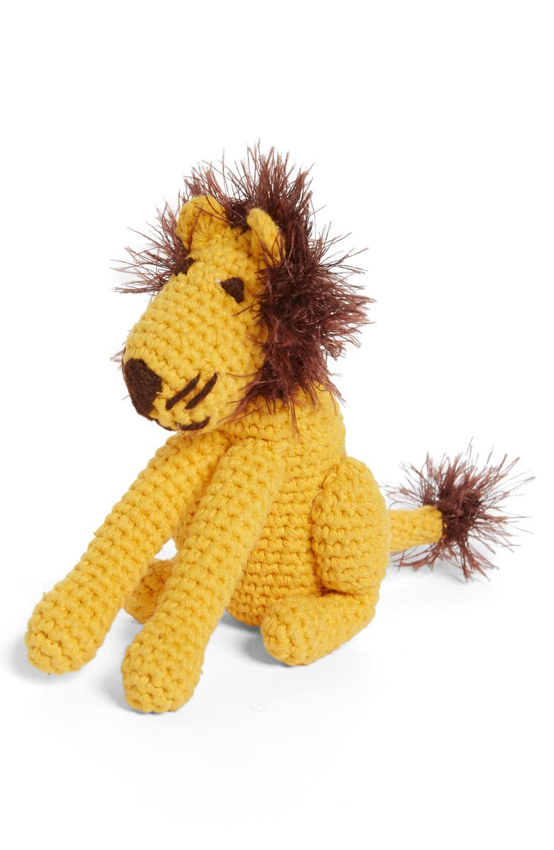 WARE OF THE DOG Organic Cotton Lion Dog Toy, Main, color, YELLOW