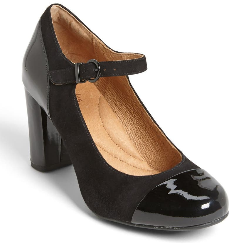 CLARKS<SUP>®</SUP> 'Loyal Peony' Mary Jane Pump, Main, color, BLACK SUEDE/ PATENT