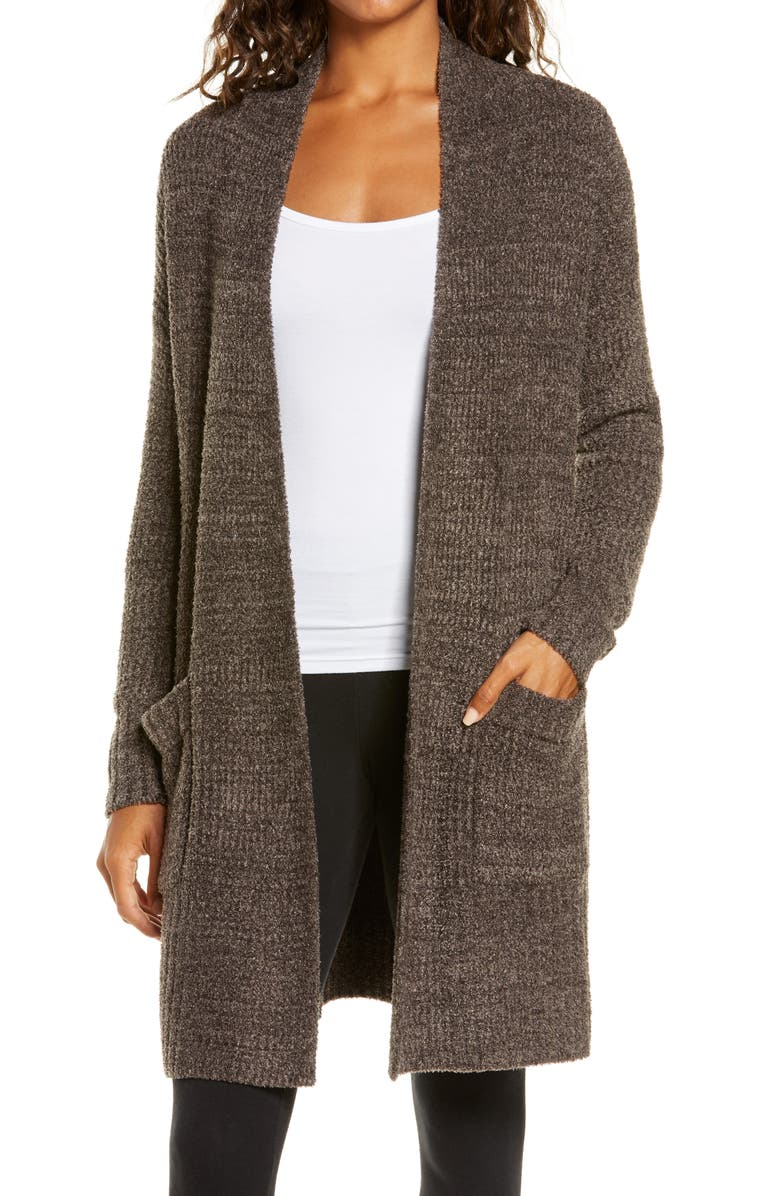 BAREFOOT DREAMS<SUP>®</SUP> CozyChic<sup>®</sup> Lite Long Weekend Cardigan, Main, color, HEATHER ESPRESSO/ COCOA