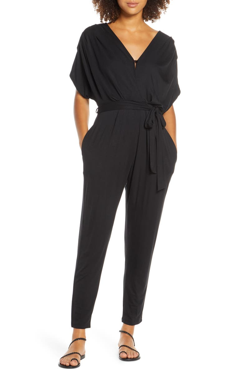 FRAICHE BY J Open Back Jumpsuit, Main, color, BLACK