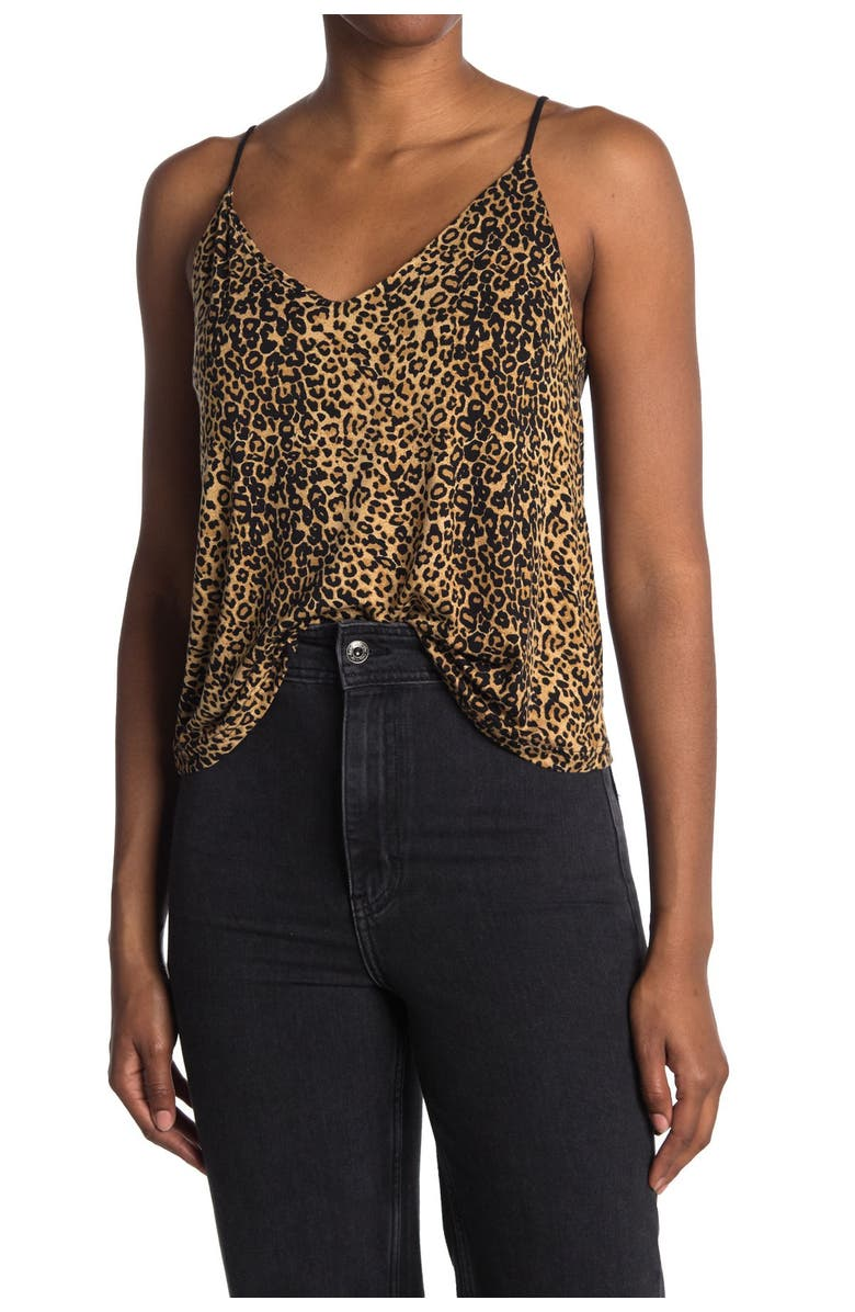 ABOUND Double V Printed Cami, Main, color, TAN LEOPARD