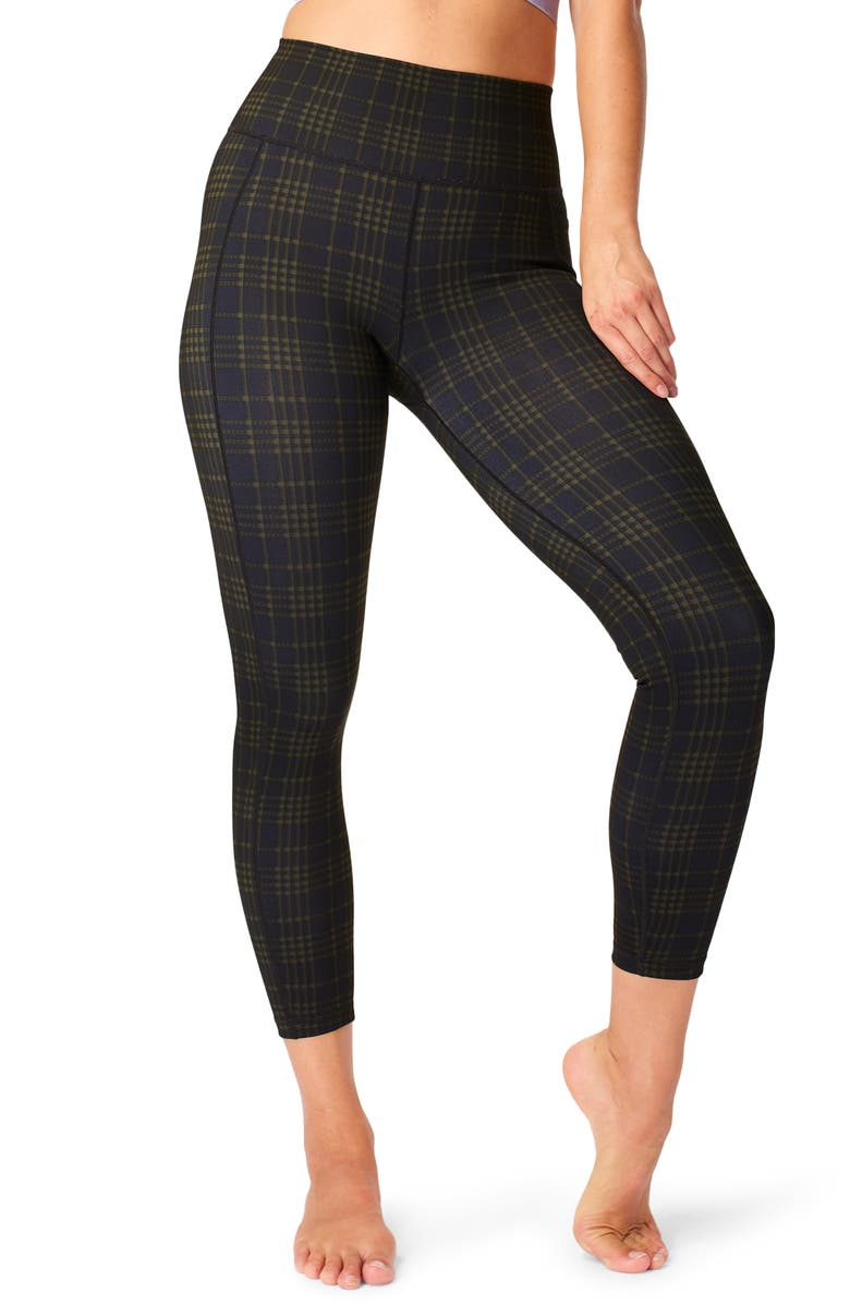 SWEATY BETTY Super Sculpt 7/8 Leggings, Main, color, GREEN CHECK PRINT