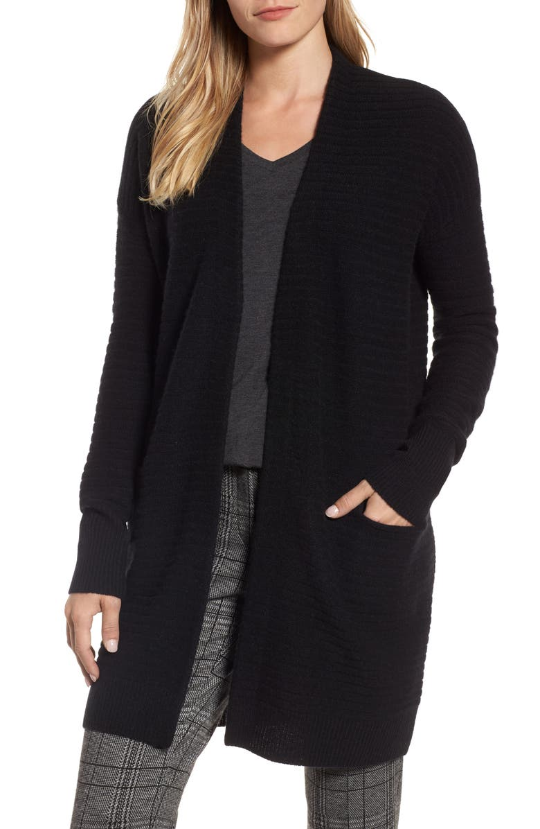 HALOGEN<SUP>®</SUP> Ribbed Cashmere Cardigan, Main, color, 001
