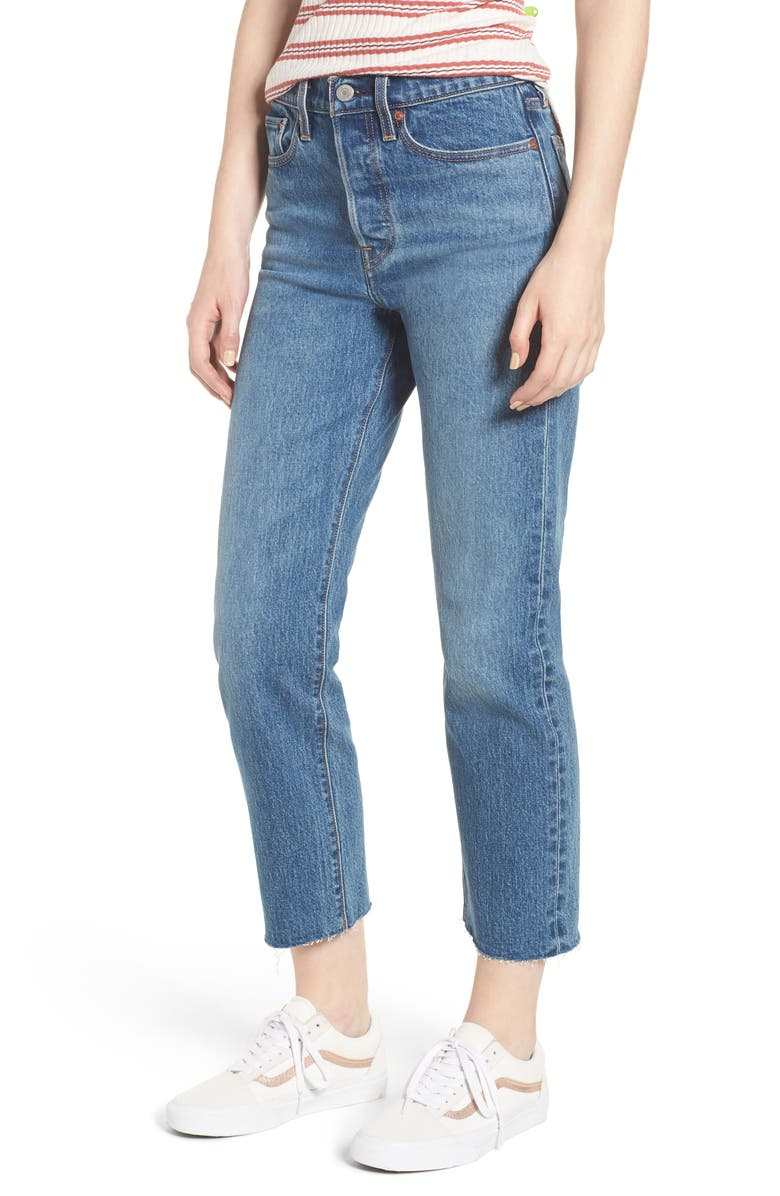 LEVI'S<SUP>®</SUP> Wedgie Raw Hem High Waist Straight Leg Jeans, Main, color, 401