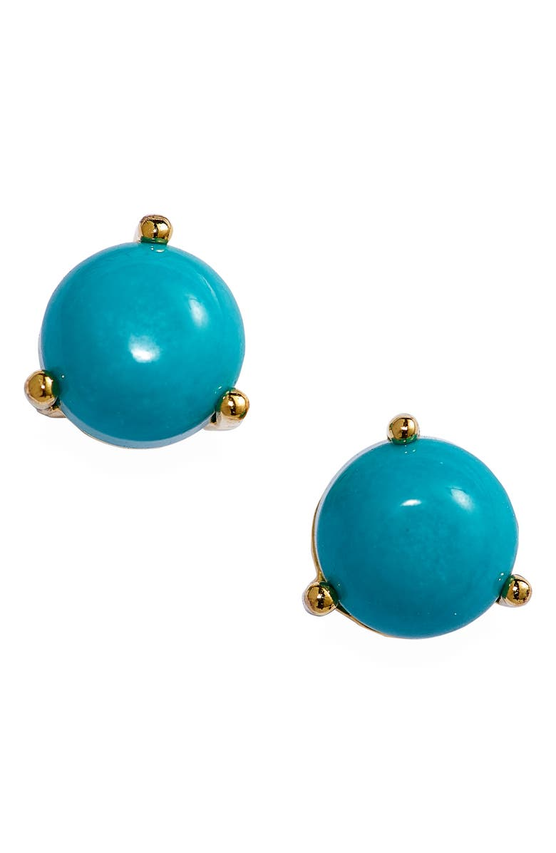 NORDSTROM 14K Gold Plate Round Stud Earrings, Main, color, TURQUOISE- GOLD