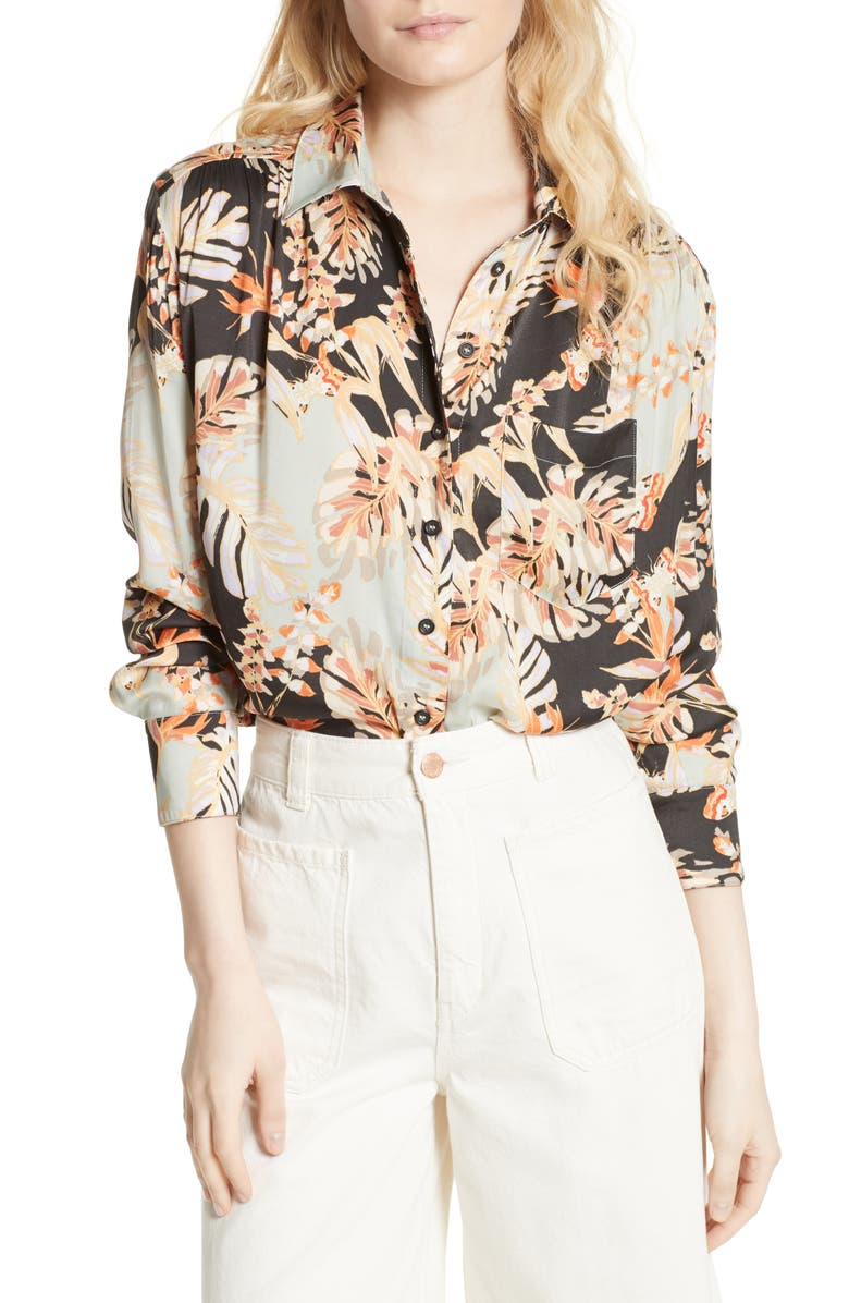 FREE PEOPLE Under the Palms Shirt, Main, color, 001