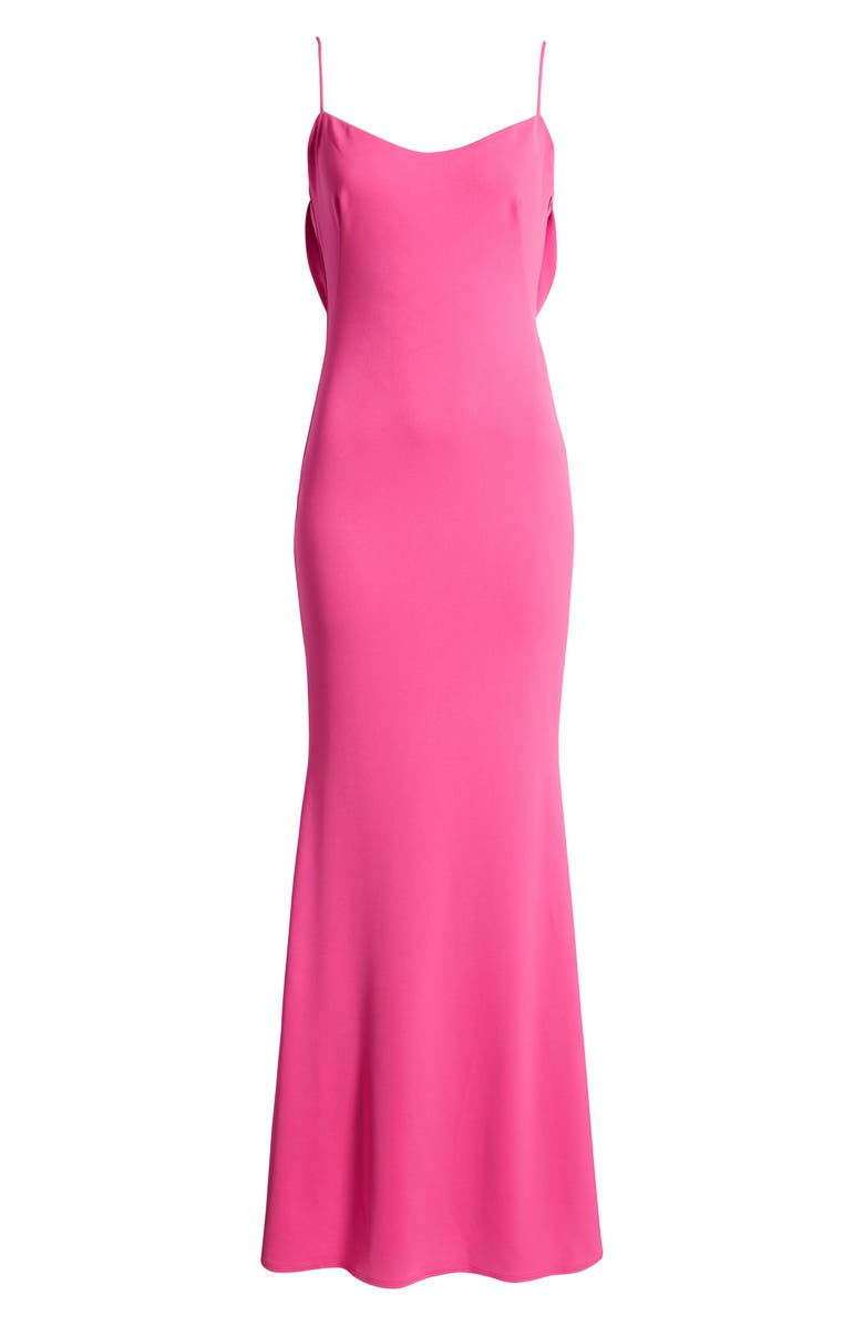 KATIE MAY The Gina Backless Trumpet Gown, Main, color, ELECTRIC PINK