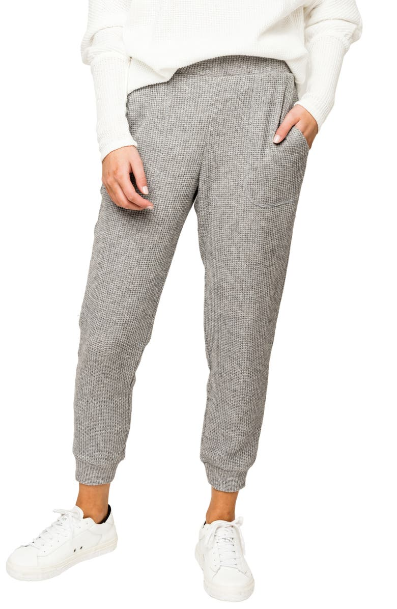 GIBSONLOOK Thermal Knit Pocket Crop Joggers, Main, color, HEATHER GREY