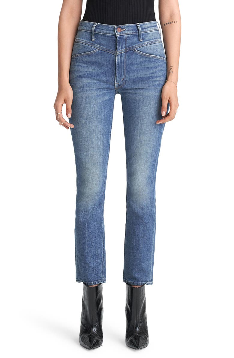 MOTHER The Dazzler High Waist Yoke Front Ankle Jeans, Main, color, 420