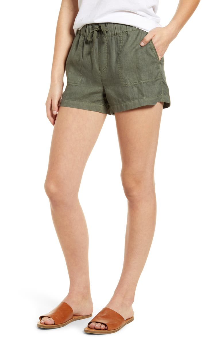 CASLON<SUP>®</SUP> Linen Shorts, Main, color, GREEN BEETLE