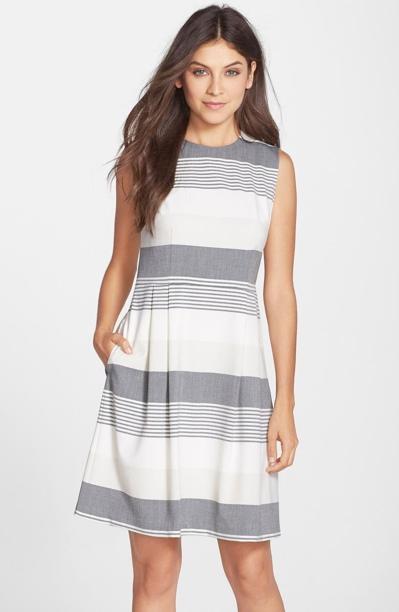 MARC NEW YORK by Andrew Marc Stripe Stretch Fit & Flare Dress, Main, color, 001