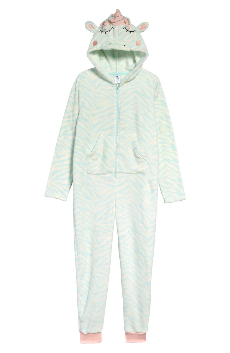 TUCKER + TATE One-Piece Pajamas, Main, color, TEAL FAIR UNICORN