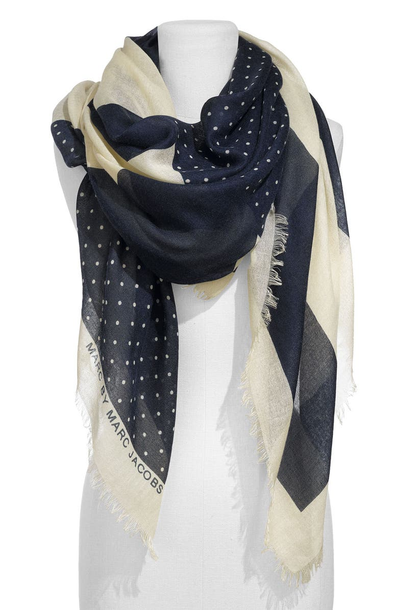 MARC JACOBS MARC BY MARC JACOBS 'Bella' Silk & Cashmere Scarf, Main, color, BRIGHT NAVY MULTI