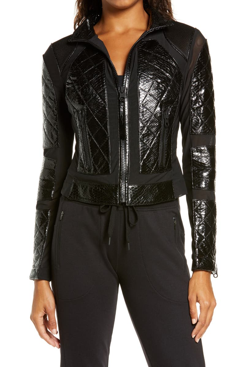 BLANC NOIR Quilted Snake Embossed Faux Patent Leather & Mesh Moto Jacket, Main, color, 001