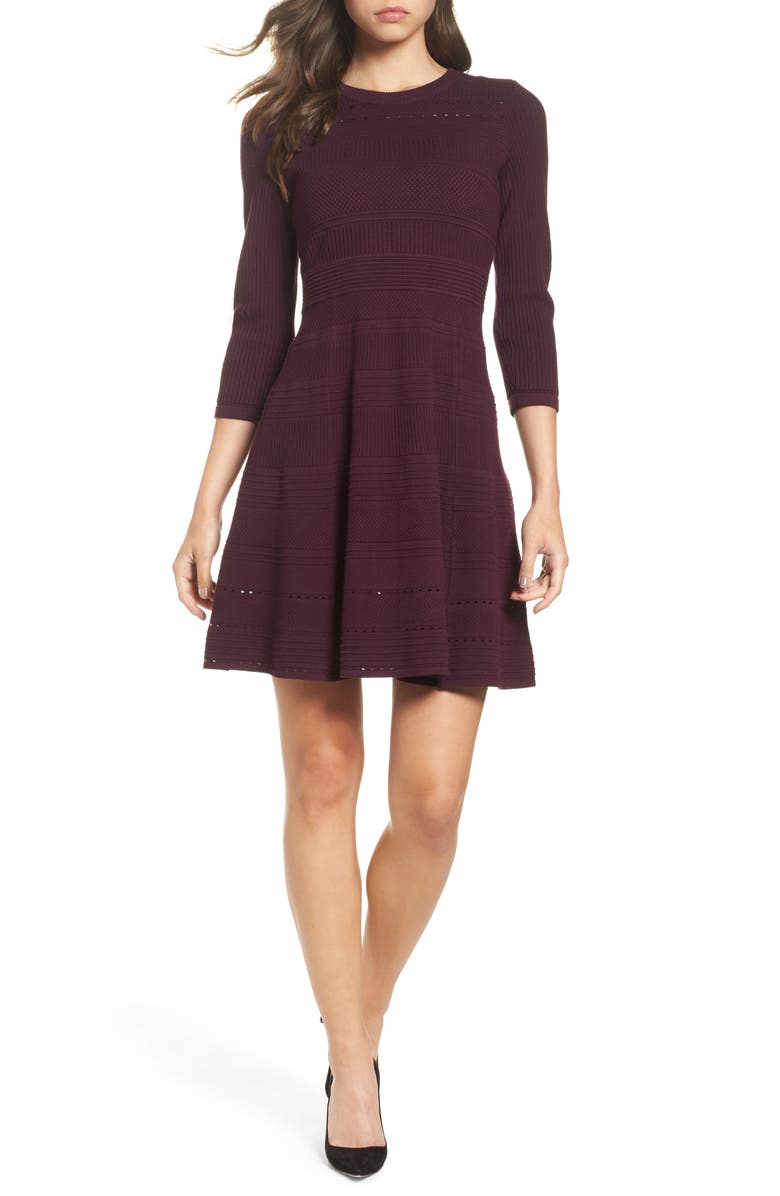 ELIZA J Fit & Flare Sweater Dress, Main, color, AUBERGINE