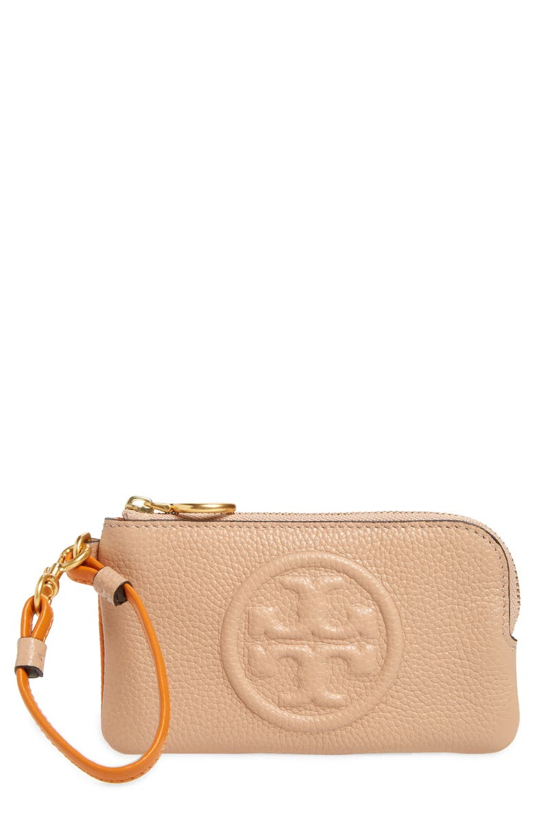 TORY BURCH Perry Colorblock Leather Card Case, Main, color, DEVON SAND