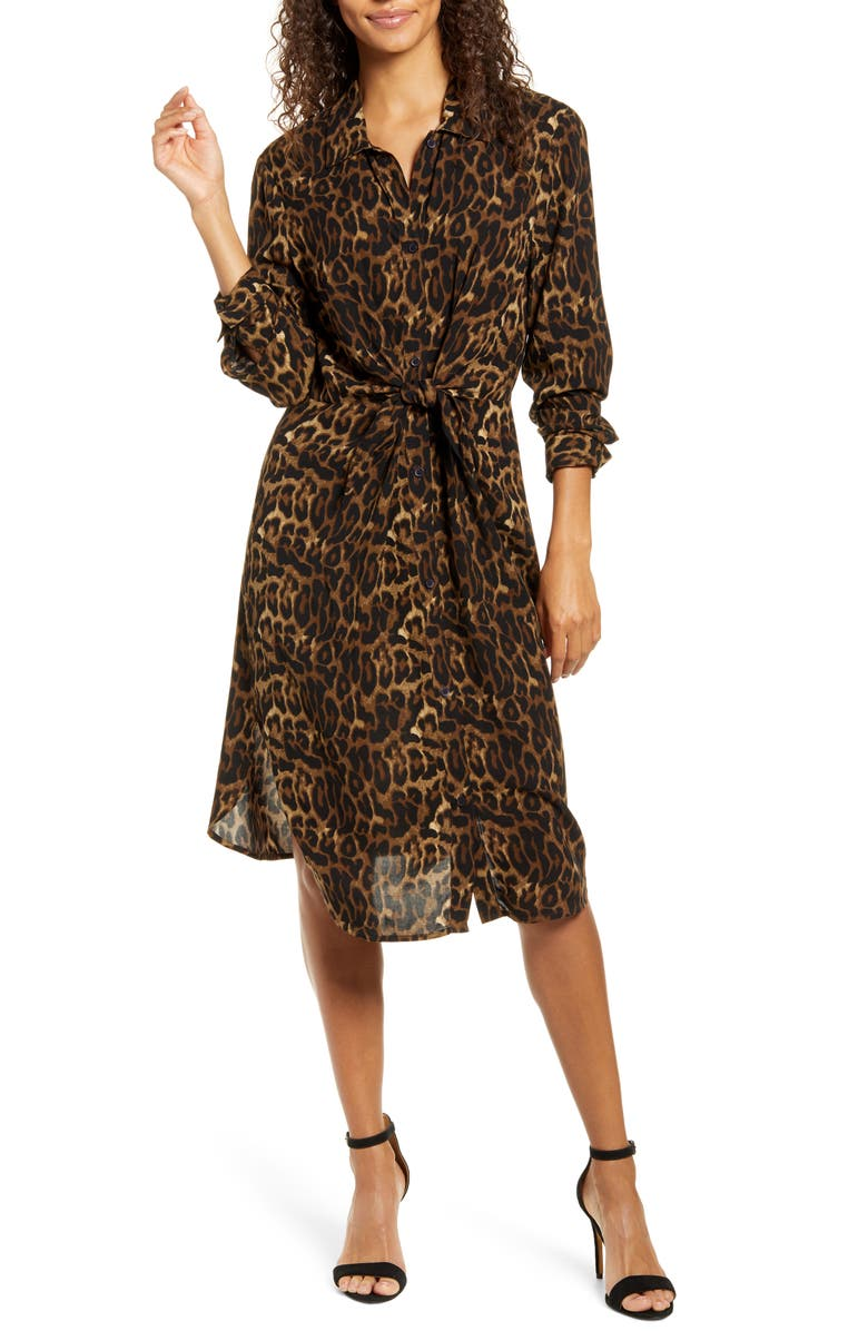 BEACHLUNCHLOUNGE Animal Print Long Sleeve Shirtdress, Main, color, SUDAN BROWN
