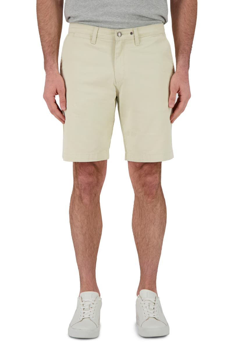 DEVIL-DOG DUNGAREES Flat Front Twill Shorts, Main, color, IVORY SMOKE