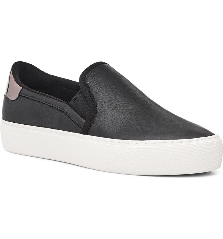 UGG<SUP>®</SUP> Cahlvan Slip-On Sneaker, Main, color, BLACK LEATHER