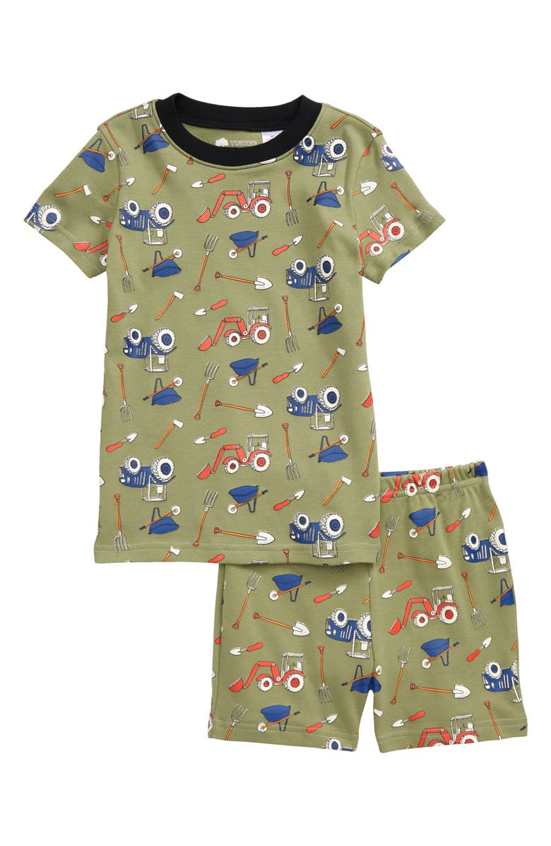 TUCKER + TATE Kids' Glow in the Dark Fitted Two-Piece Short Pajamas, Main, color, OLIVE ACORN FARM GLOW