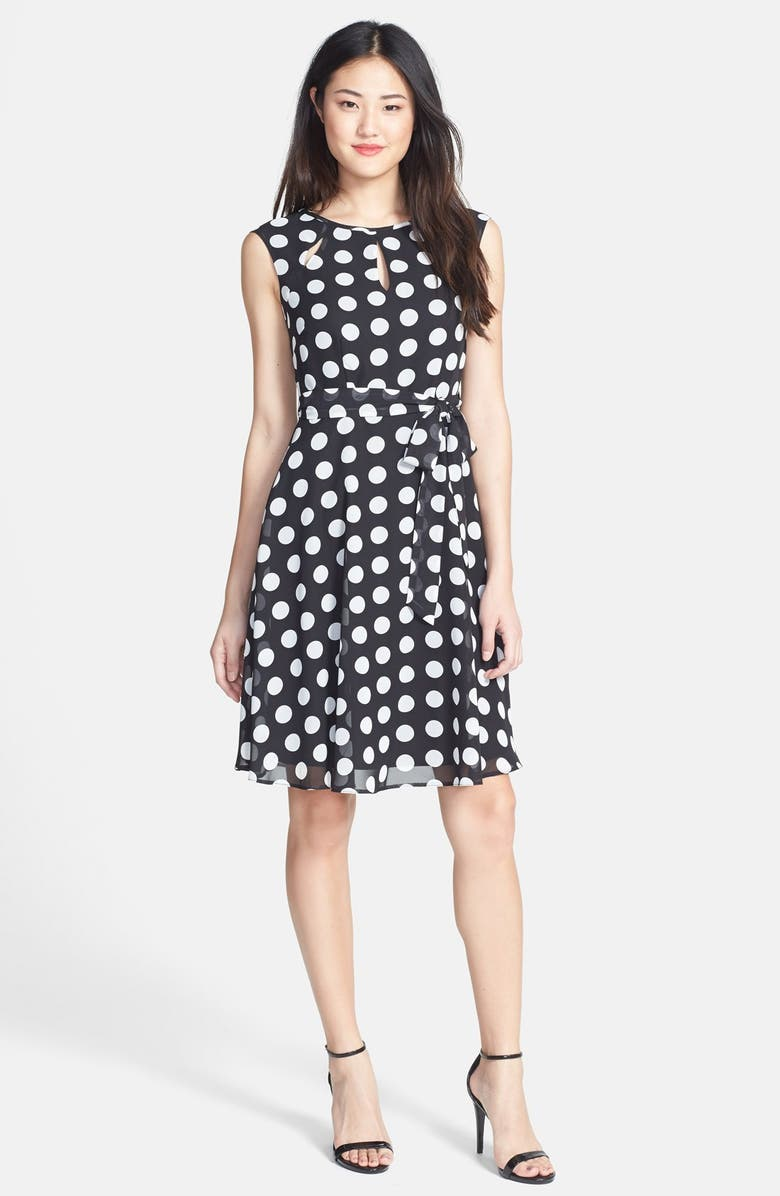 WALLIS Spotted Fit & Flare Dress, Main, color, 001