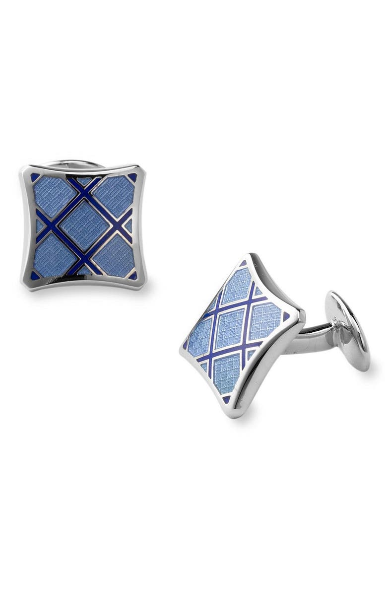DAVID DONAHUE Sterling Silver Cuff Links, Main, color, BLUE