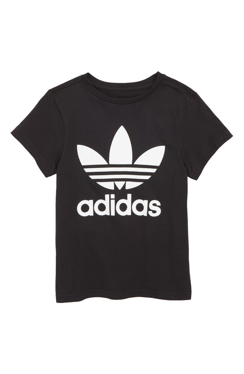 ADIDAS ORIGINALS Trefoil Logo Tee, Main, color, BLACK/ WHITE