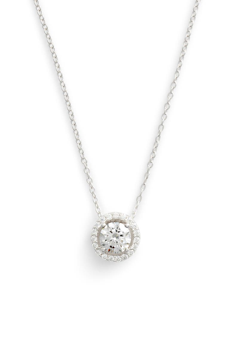 LAFONN Round Halo Necklace, Main, color, SILVER/ CLEAR