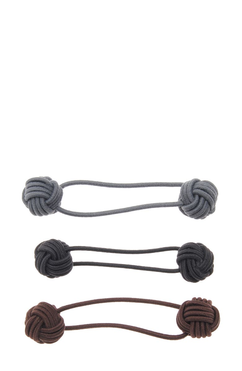 L. ERICKSON Knotted Bauble 3-Pack Assorted Ponytail Holders, Main, color, NEUTRAL COMBO