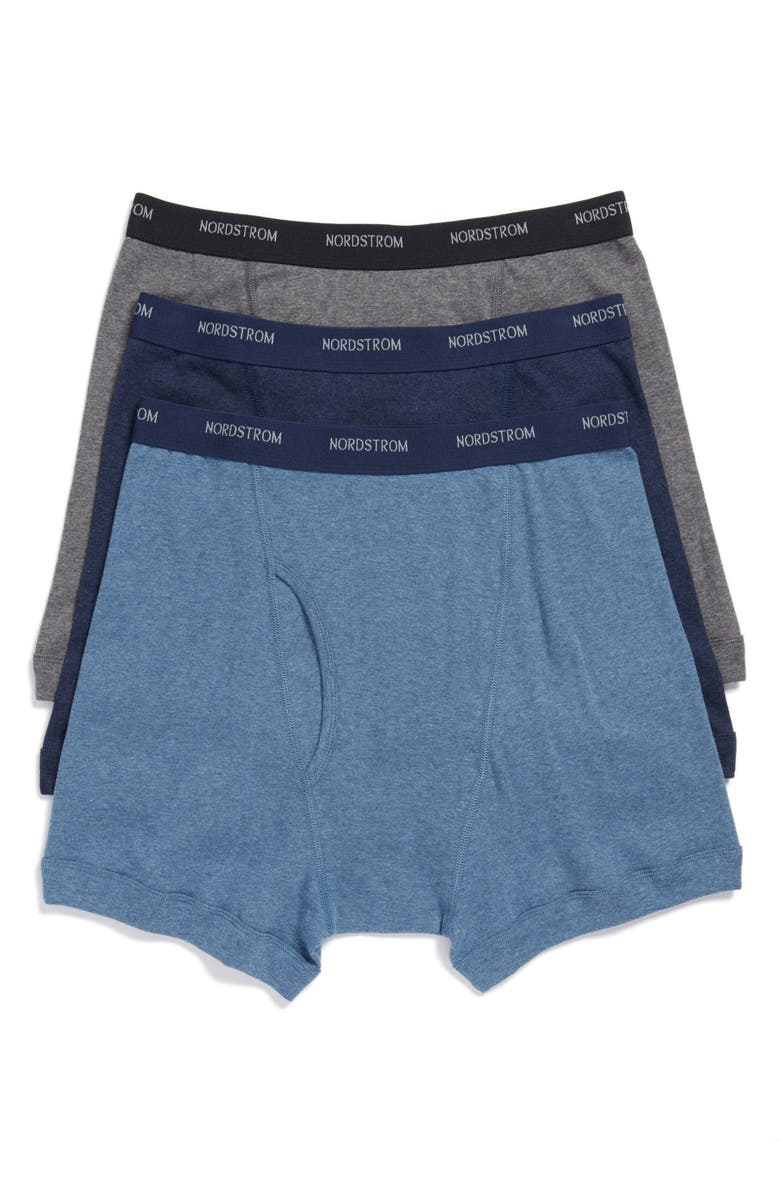 NORDSTROM 3-Pack Supima<sup>®</sup> Cotton Boxer Briefs, Main, color, NAVY/ CHARCOAL/ BLUE