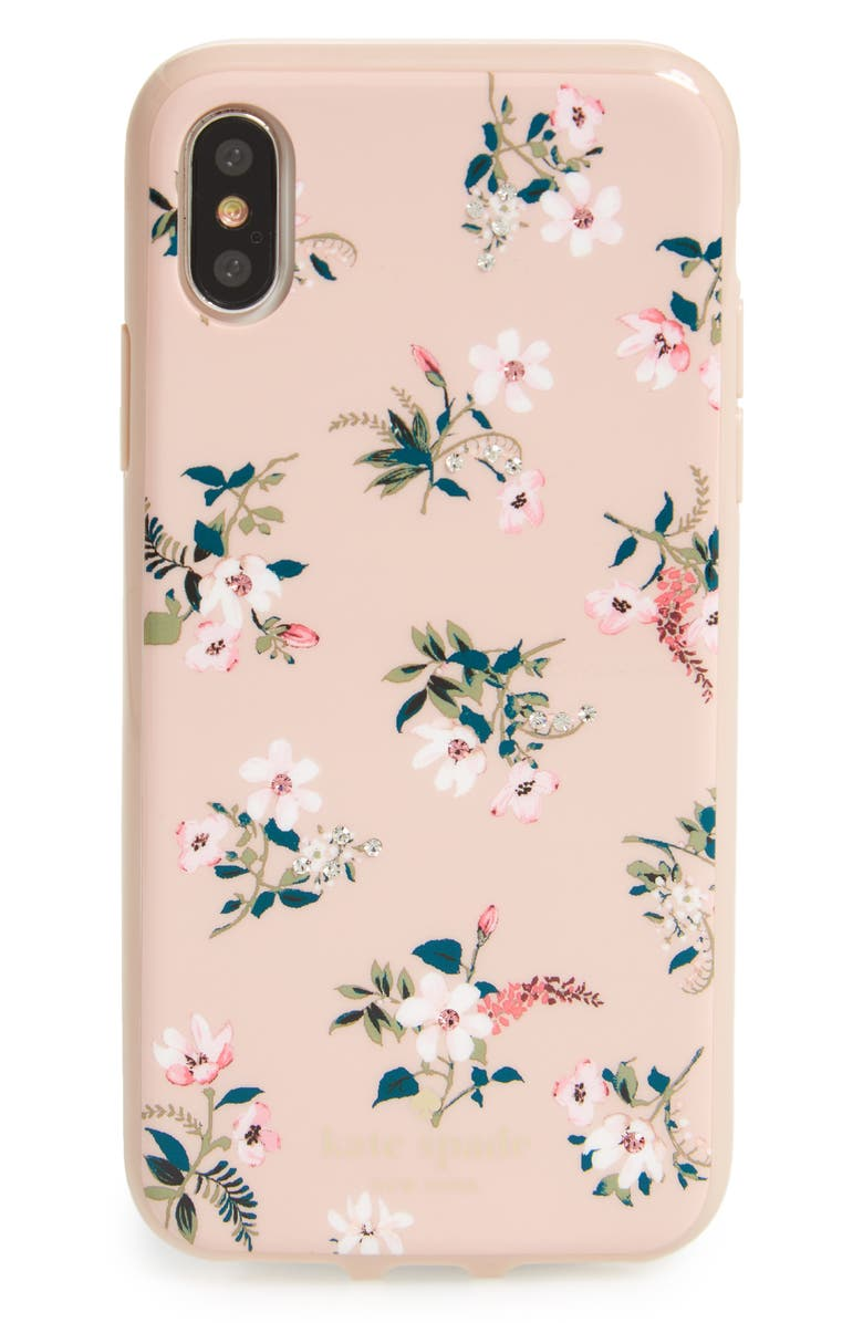 KATE SPADE NEW YORK jeweled flora iPhone X & Xs case, Main, color, 673
