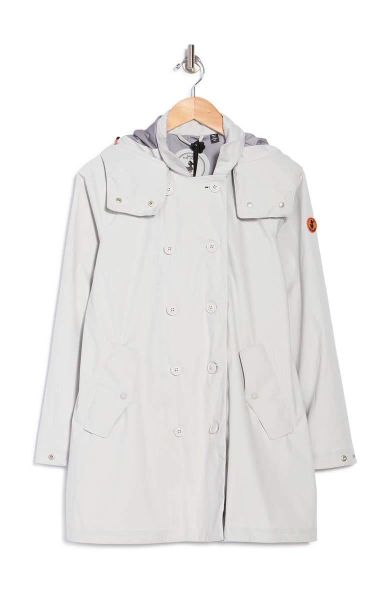 SAVE THE DUCK Double Breasted Raincoat, Main, color, 1301 COCONUT WHITE
