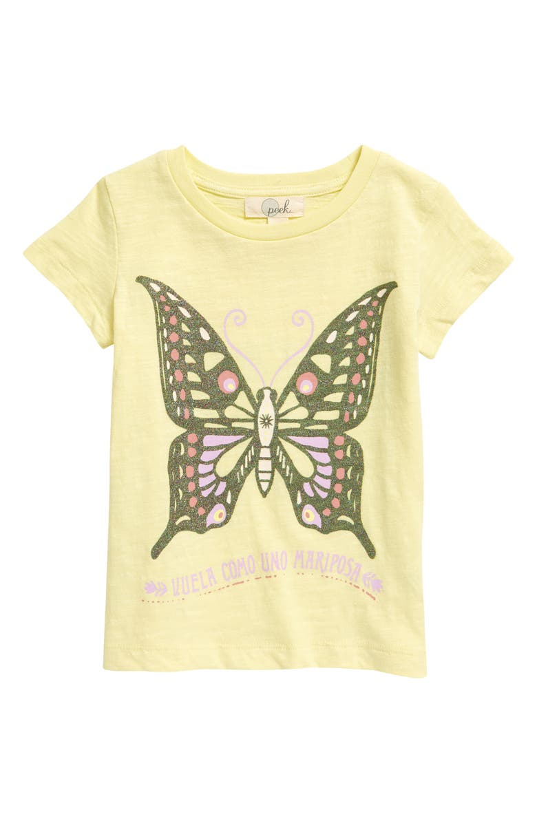 PEEK AREN'T YOU CURIOUS Mariposa Graphic Tee, Main, color, LIGHT YELLOW