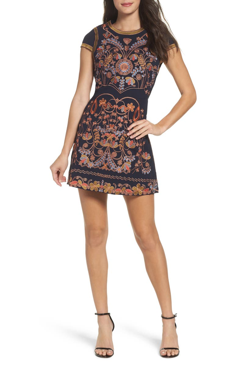 FOXIEDOX Hadiya Embroidered A-Line Dress, Main, color, 460