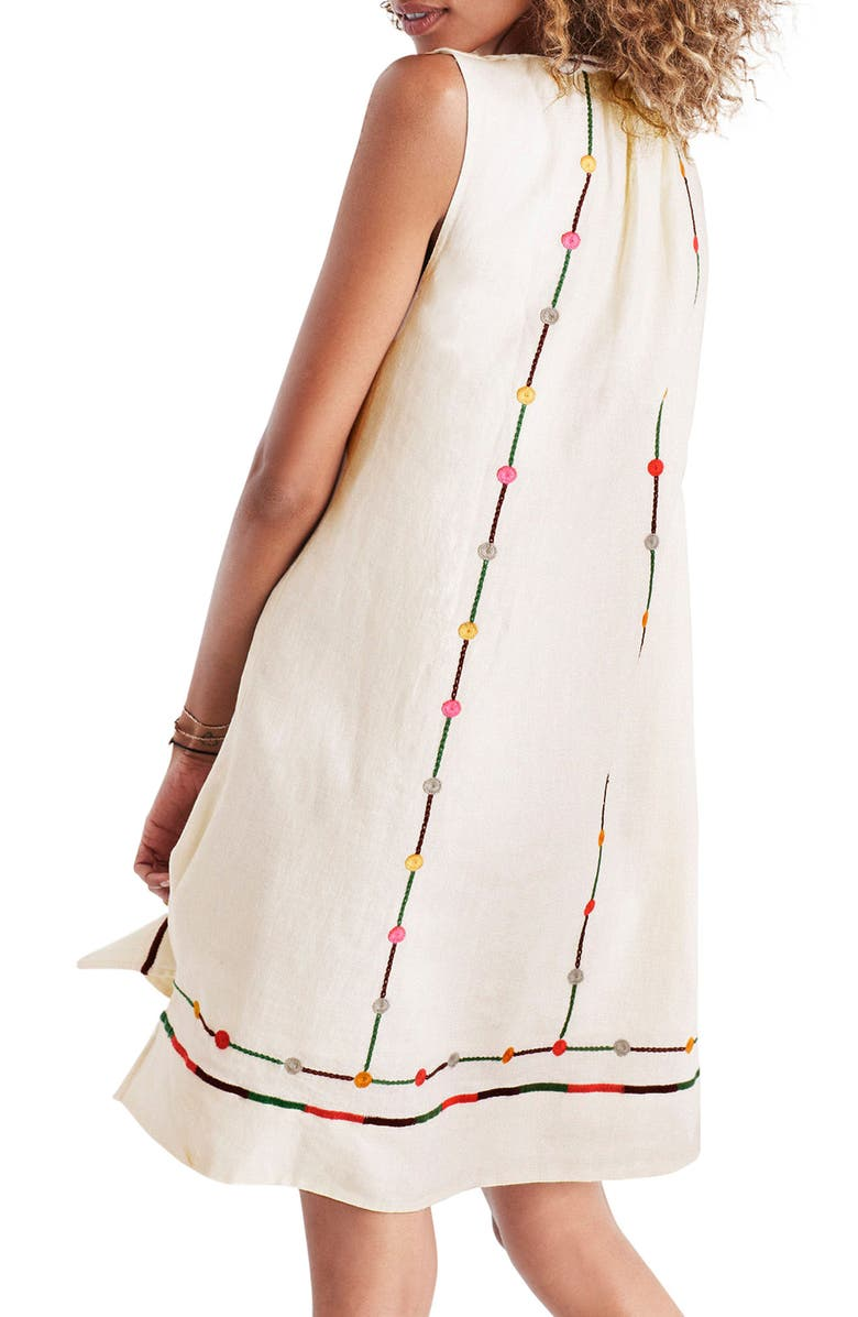 MADEWELL Willow Embroidered Shift Dress, Main, color, PALE PARCHMENT